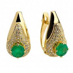 Золотые серьги с изумрудами и бриллиантами Эдми
