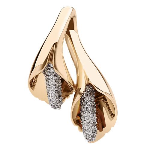 Золотая подвеска с бриллиантами Каллы KBL--П114/крас/брил