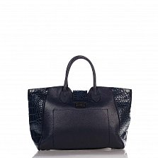Кожаная деловая сумка Genuine Leather 8947 темно-синего цвета с декоративными заклепками