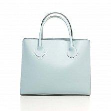 Кожаная деловая сумка Genuine Leather 8983 голубого цвета на магнитной кнопке с подвеской из кожи