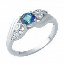 Серебряное кольцо Ливадия с топазом мистик и фианитами