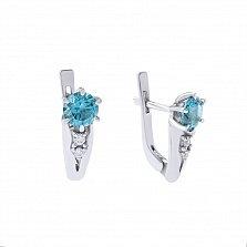 Серебряные серьги Милена с кварцем под голубой топаз и белым цирконием