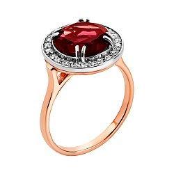 Золотое кольцо в комбинированном цвете с гранатом и цирконием 000137043