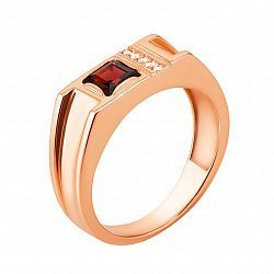 Перстень-печатка из красного золота с гранатом и фианитами 000133188