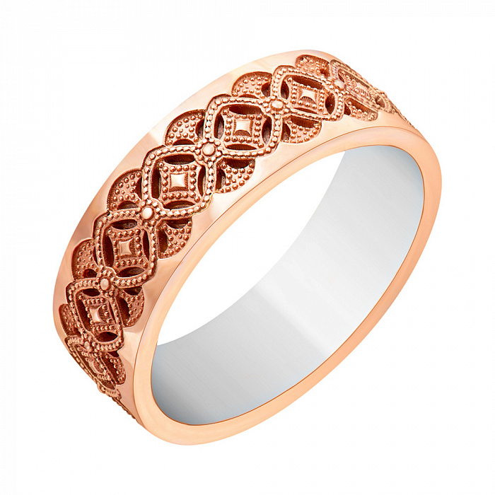 Золотое обручальное кольцо в комбинированном цвете 000010198 000010198