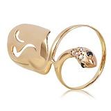 Золотое кольцо на ноготь с фианитами Змейка