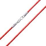 Красный шелковый шнурок Матиас с родированной серебряной застежкой