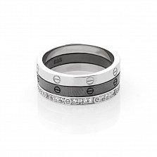 Серебряное тройное кольцо Биргит с фианитами и чернением в стиле Картье