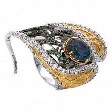 Серебряное кольцо с опалом и позолотой Анжелика