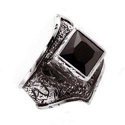 Кольцо из серебра Beat-up с черным цирконием и чернением 000091431