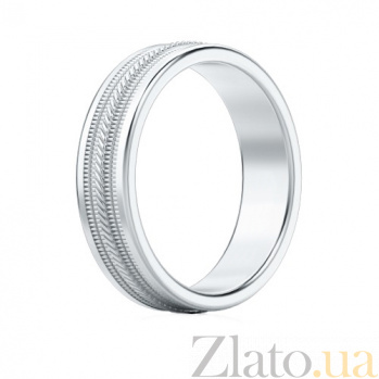 Мужское обручальное кольцо из белого золота Я тебя никому не отдам 523