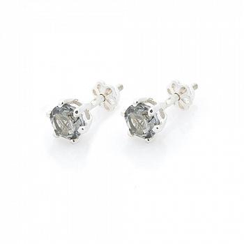 Серебряные серьги-пуссеты Мэдди с синтезированным топазом 000069812