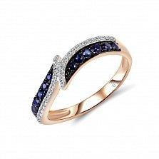 Золотое кольцо Дина с сапфирами и бриллиантами