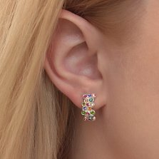 Серебряные серьги Капли с разноцветными кристаллами Swarovski