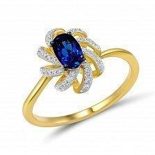 Кольцо Фелисити из золота с бриллиантами и сапфиром