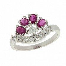 Серебряное кольцо с цирконием и рубинами Гармония