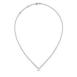 Серебряное колье Сердце с бриллиантом