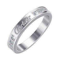 Серебряное кольцо с гравировкой и фианитами в стиле Картье 000052229