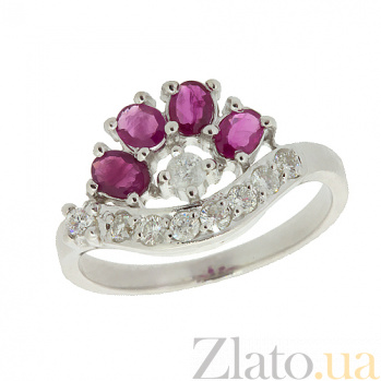 Серебряное кольцо с цирконием и рубинами Гармония ZMX--RCzR-6403-Ag_K