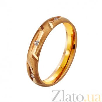 Золотое обручальное кольцо Навеки вместе с фианитами TRF--4121086