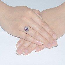 Серебряное кольцо с аметистом  и фианитами