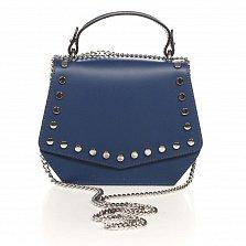Кожаный клатч Genuine Leather 1733 темно-синего цвета с декоративными заклепками и короткой ручкой