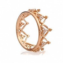 Кольцо из красного золота Корона с цирконием