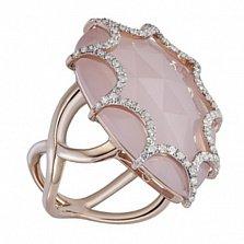 Золотое кольцо с халцедоном и бриллиантами Айседора