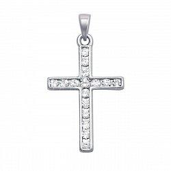Декоративный крестик из белого золота с бриллиантами 000123622