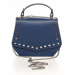 Кожаный клатч Genuine Leather 1733 темно-синего цвета с декоративными заклепками и короткой ручкой 0
