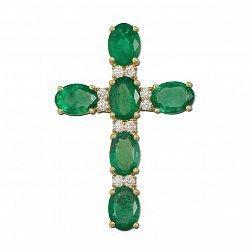 Декоративный крестик из желтого золота с изумрудами и бриллиантами 000136702