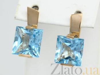 Золотые серьги с голубым топазом Ирма 000029447