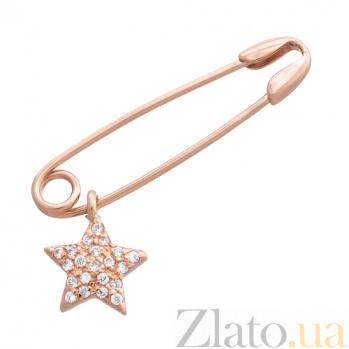 Золотая булавка Звездочка SVA--6101342101/Фианит/Цирконий