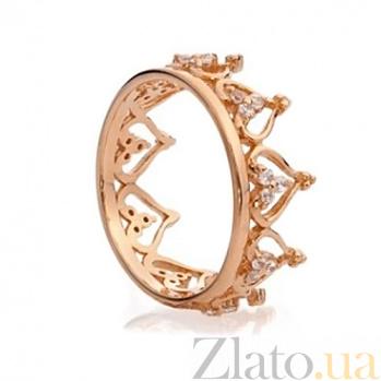Кольцо из красного золота Корона с цирконием SG--61765110