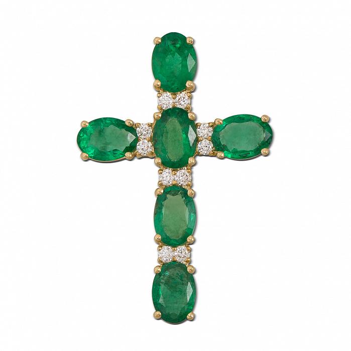 Декоративный крестик из желтого золота с изумрудами и бриллиантами 000136702 000136702
