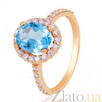 Золотое кольцо Альда с голубым топазом и фианитами EDM--КД4036ТОПАЗ