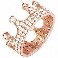 Серебряное кольцо Царевна с фианитами и позолотой