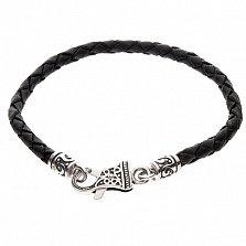 Черный кожаный браслет Тирон с серебряным замком, 4мм