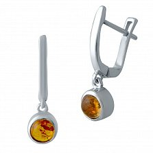 Серебряные серьги-подвески Вартия с завальцованным янтарем
