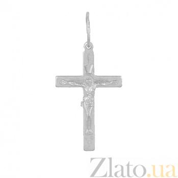 Крестик из серебра покрытый родием Всевышний HUF--3115-АР