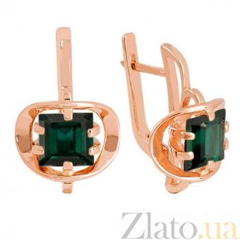 Золотые серьги Заир с синтезированными аметистами VLN--113-814-55