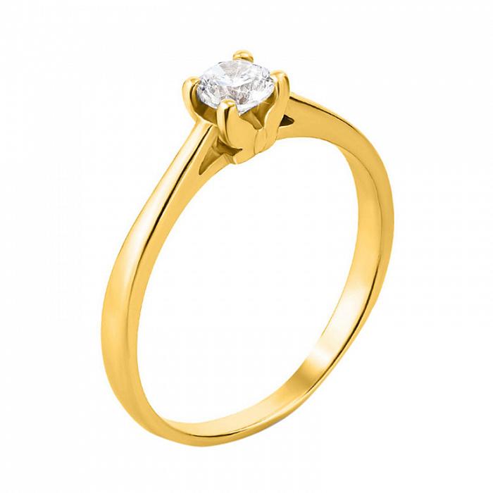 Помолвочное кольцо из желтого золота с фианитом 000130064 000130064