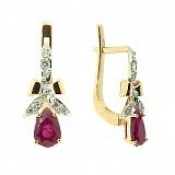 Серьги из красного золота с рубинами и бриллиантами Мериса