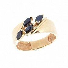 Золотое кольцо в красном цвете с сапфирами Божена