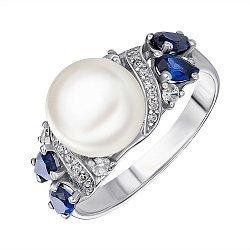 Кольцо из серебра с жемчугом, сапфирами и фианитами 000146124
