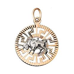 Кулон в комбинированном цвете золота Знак Зодиака Телец с насечками 000001558