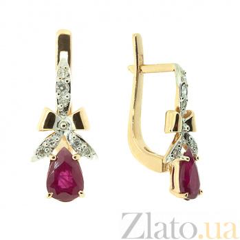 Серьги из красного золота с рубинами и бриллиантами Мериса ZMX--EDR-5534_K