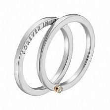 Кольцо в белом и желтом золоте Вечная любовь с фианитом