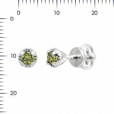 Серебряные серьги-пуссеты Фея с оливковым цирконием