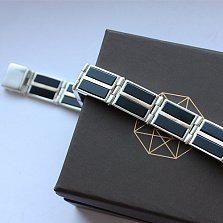 Серебряный браслет с ониксом Джонас